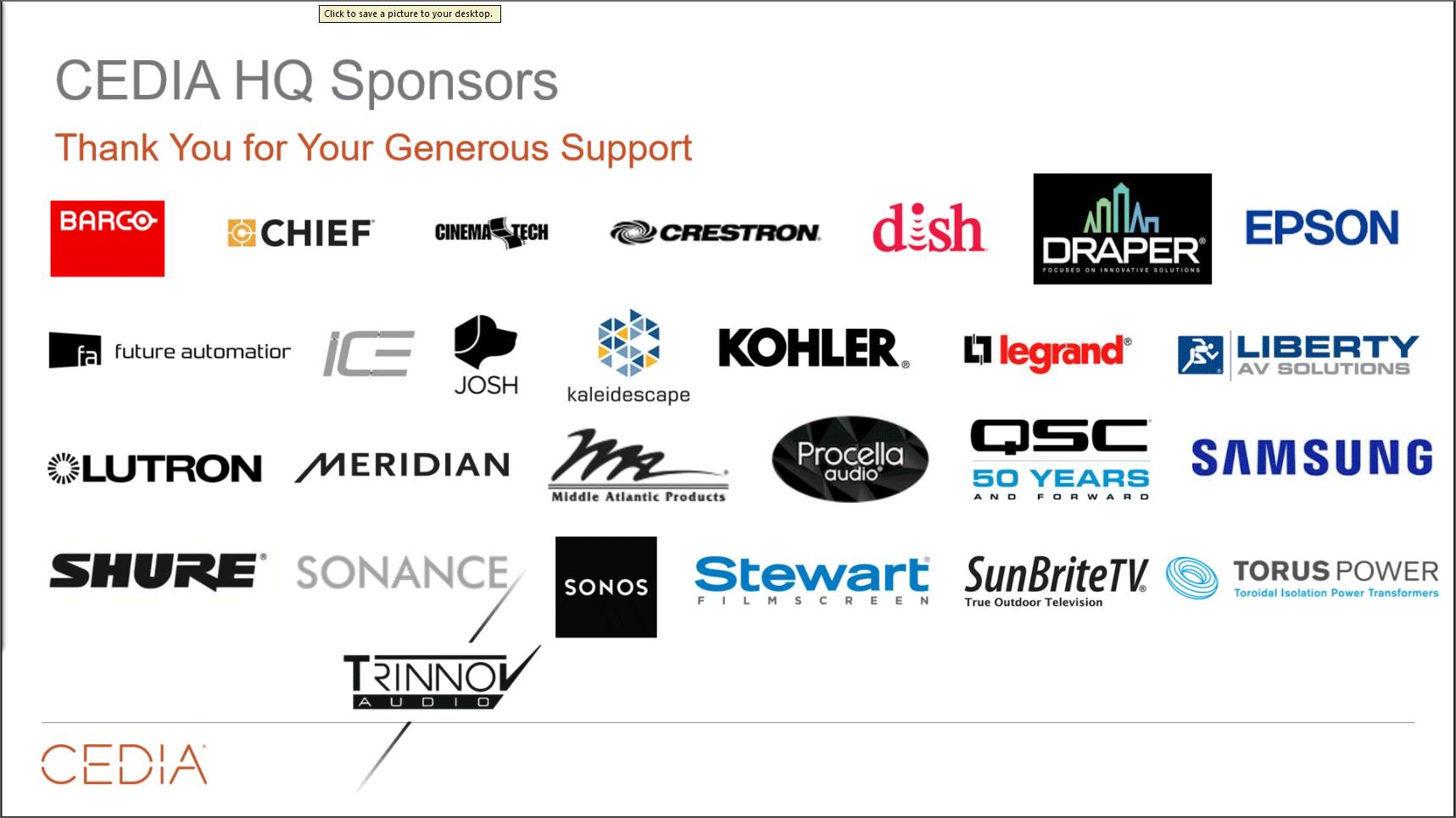 CEDIA HQ sponsors