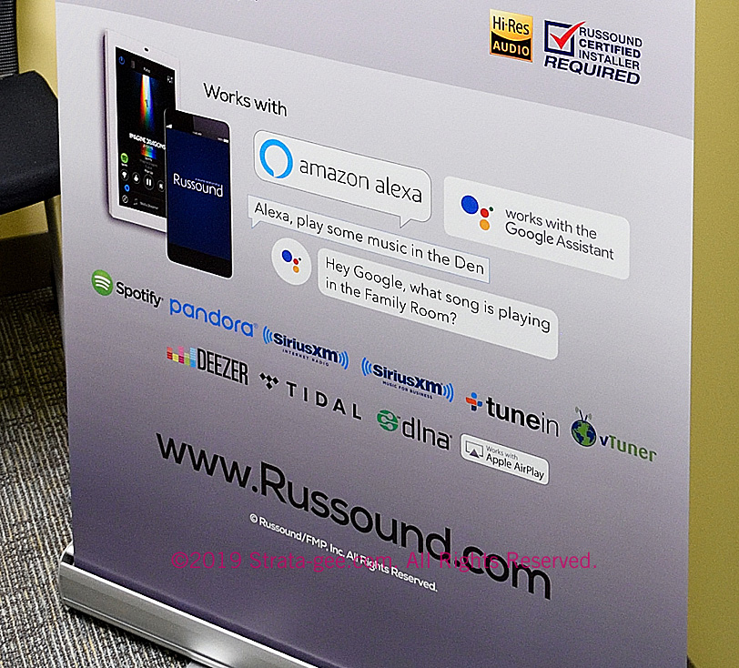 A portion of a sign Russound created for ISE showing the streaming services they support