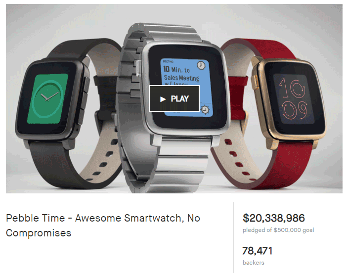 Photo of a highly successful Kickstarter project, the Pebble Time Smartwatch