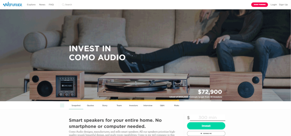 Photo of Wefunder Como Audio profile page