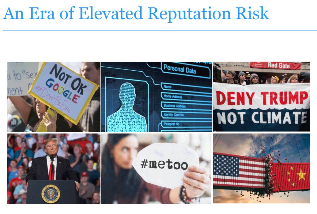 RepTrak 100 graphic suggesting era of elevated risk