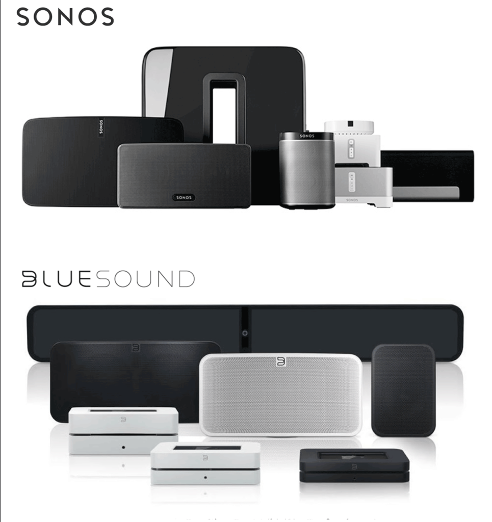Images taken from Sonos marketing and Bluesound marketing. Attorney's for Sonos say Bluesound copied Sonos, but I'm not swayed in this instance.