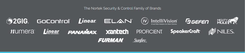 A graphic showing the brands marketing by Nortek Security and Control