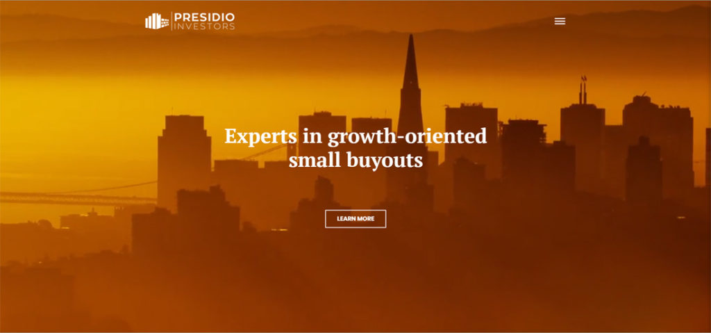 the home page of the Presidio Investors website