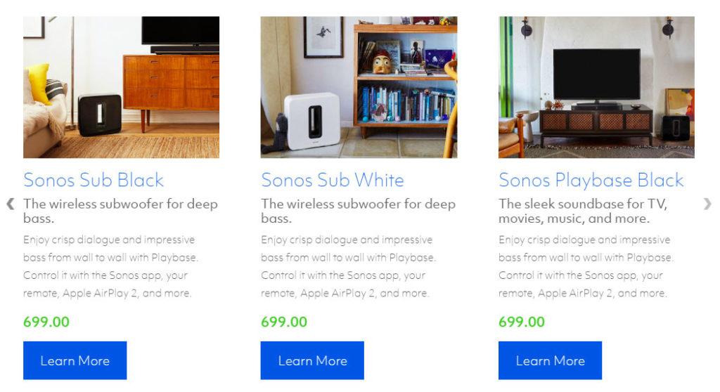 Onkyo Sonos sales page