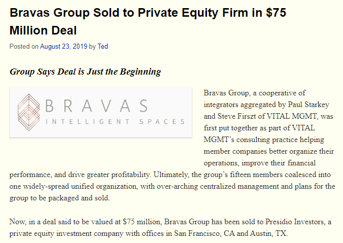 top ten Strata-gee stories of 2019 - Bravas Group sold to Private Equity Firm in $75 Million Deal