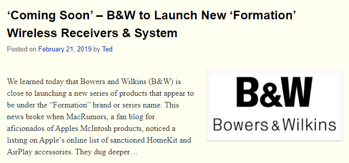B&W to Launch Formation