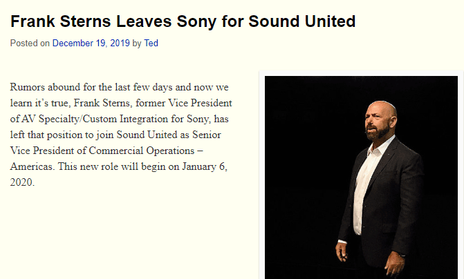 Top ten Strata-gee stories of 2019 - Frank Sterns Leaves Sony for Sound United