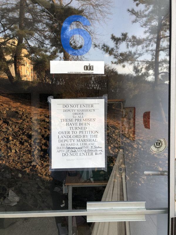 Audio Design Associates, marshals sign on door