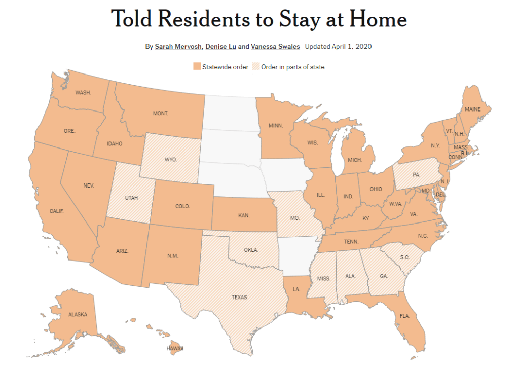 Graphic showing states with full or partial Stay-at-Home orders