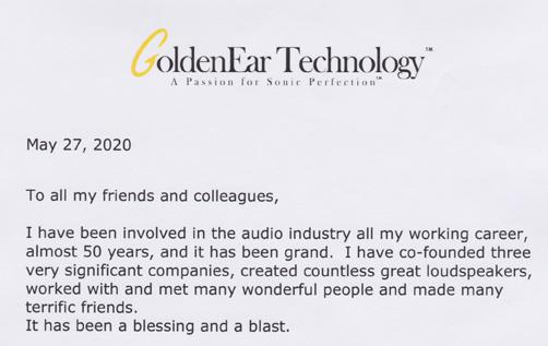 Sandy Gross wrote this letter resigning his position of President Emeritus of GoldenEar