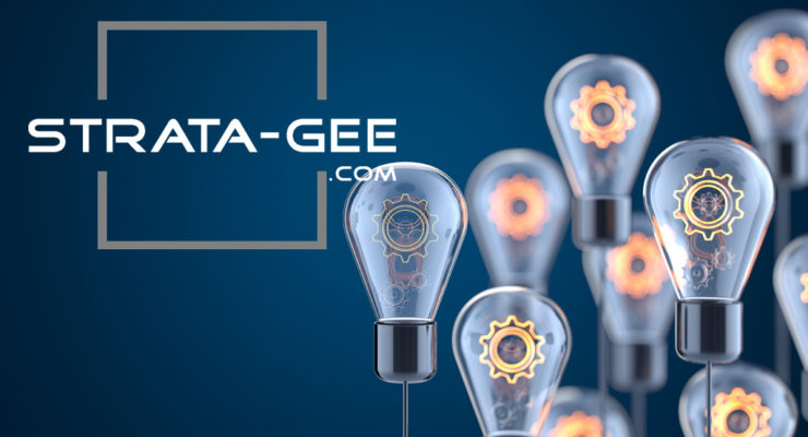 strata-gee logo with light bulbs