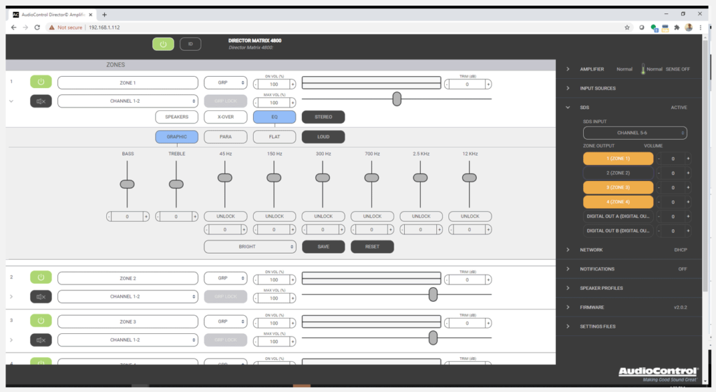 New graphical user interface for controlling AudioControl Director series products