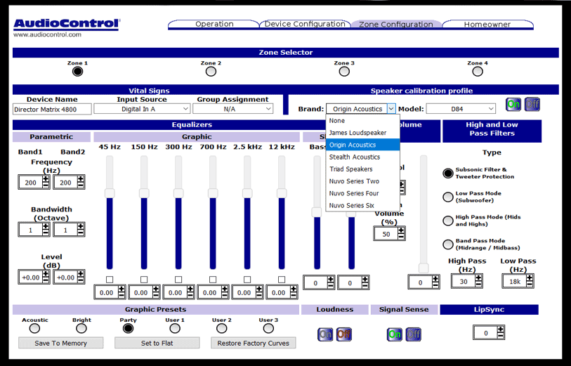 Existing graphical user interface for controlling AudioControl Director series products