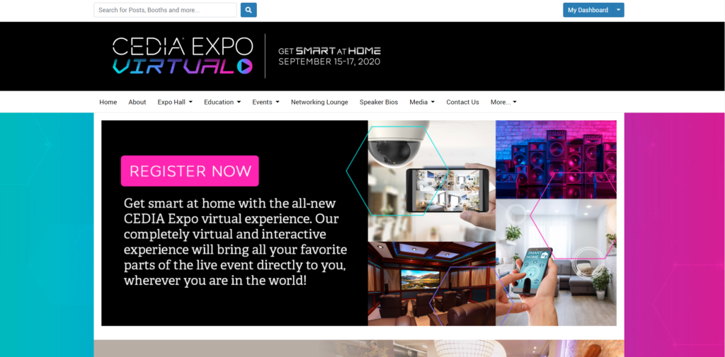 Welcome page to CEDIA Expo Virtual