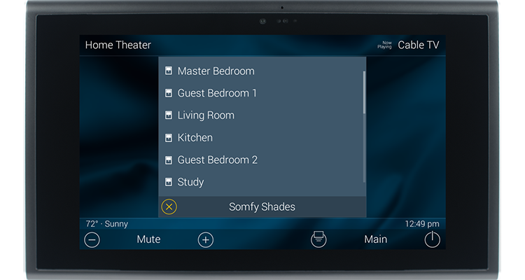 Screenshot of URC Total Control system controlling Somfy shades
