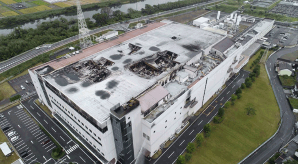 A photo of the burned out AKM factory after the fire was extinguished
