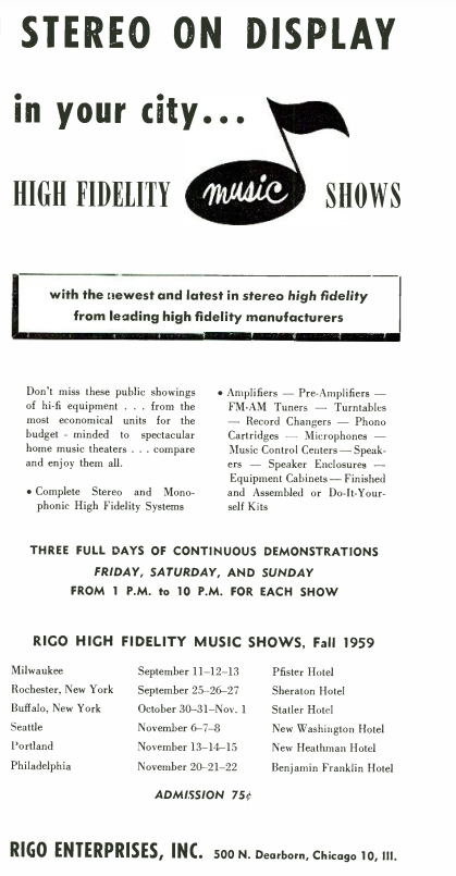 "an old advertisement for upcoming ""High Fidelity Music Shows"" in 1959"