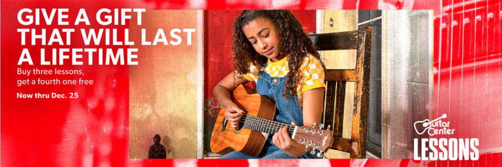 From the Guitar Center website - young girl playing a guitar with lessons