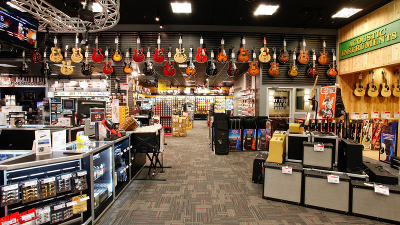 The inside view of the Guitar Center store in Manhattan