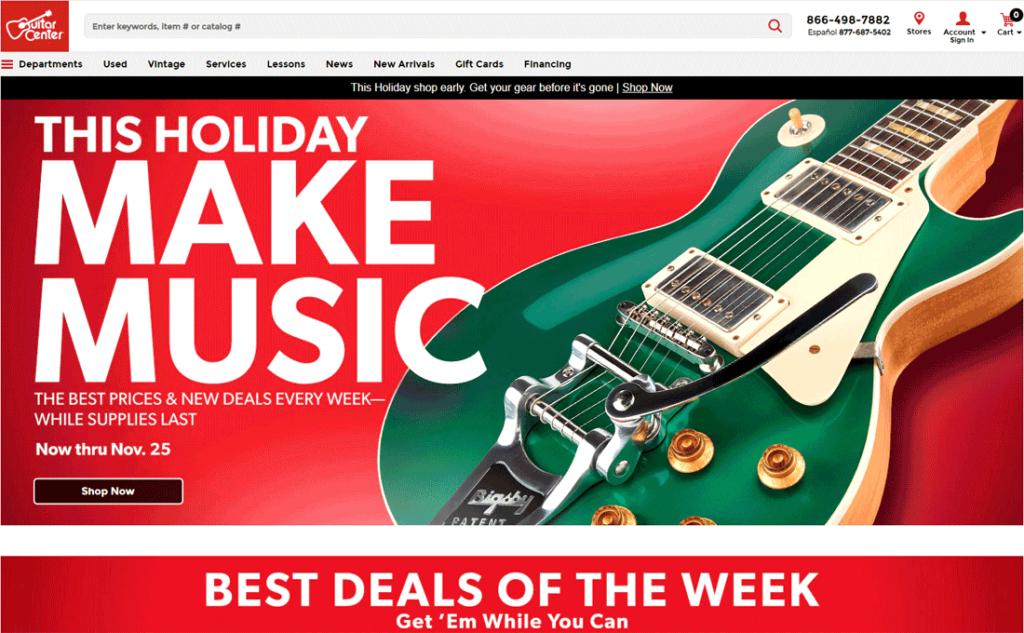 Guitar Center website