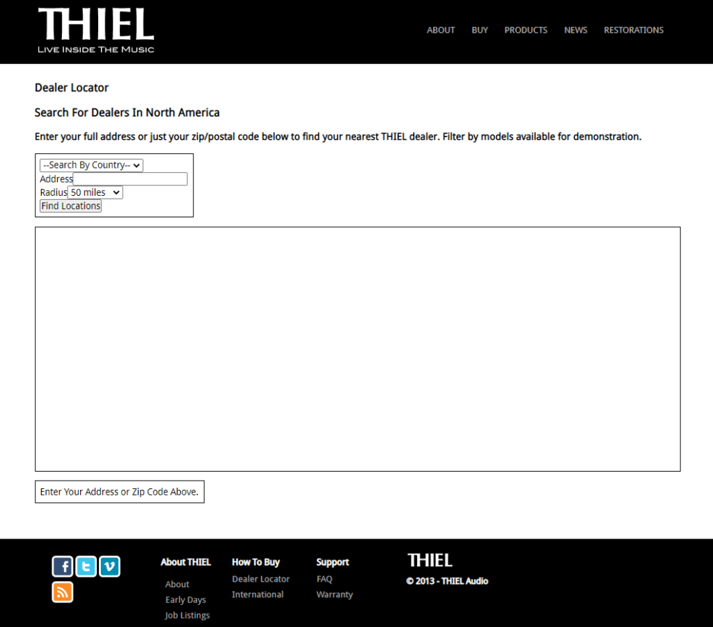 the dealer locator page on Thiel Audio website