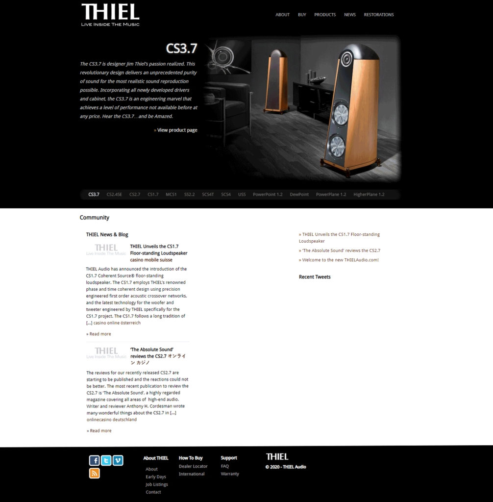 a photo of the Thiel Audio website which was recently relaunched
