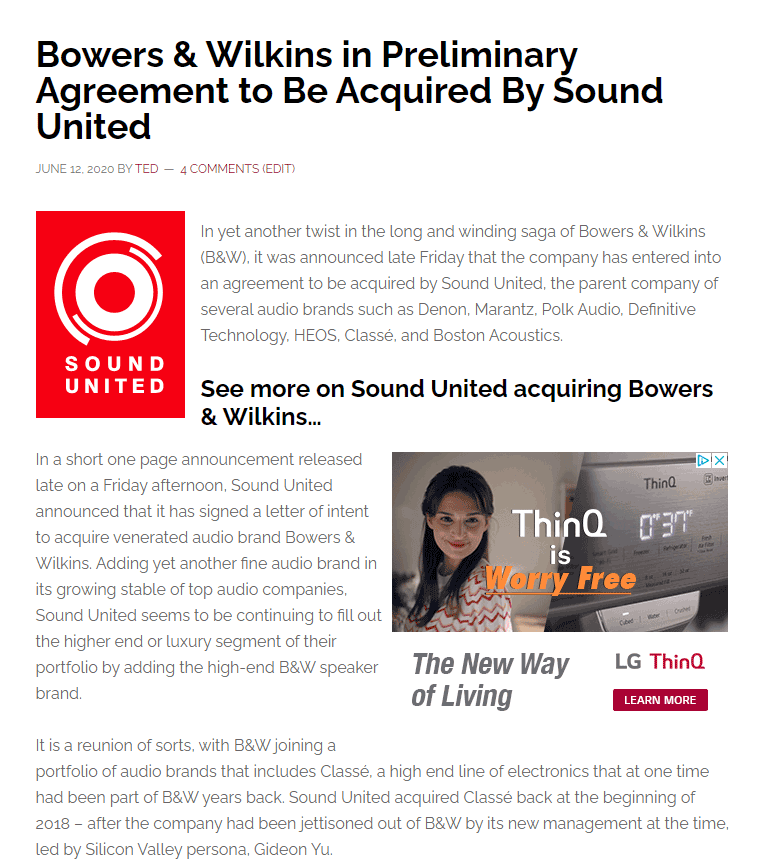 Photo of Bowers & Wilkins story in which they are said to be in preliminary acquisition discussions