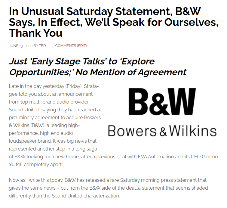 Image of post about B&W releasing a rare Saturday statement