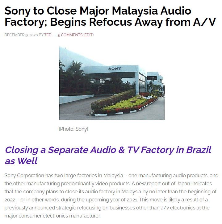 Screen shot of Strata-gee story about Sony shutting down their Malaysian A/V factory