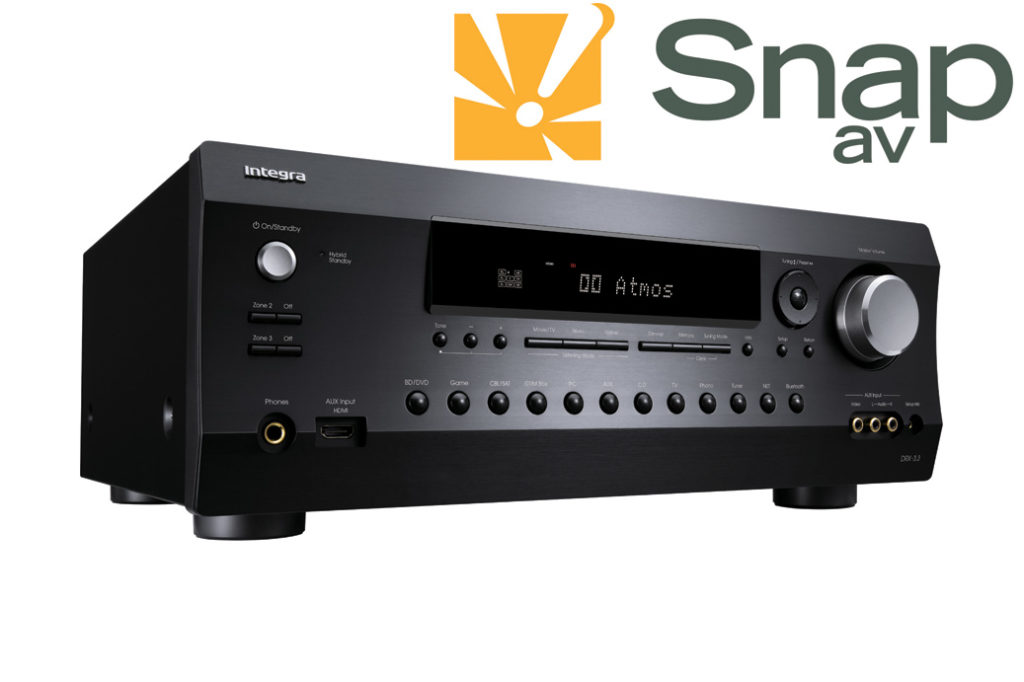 Graphic showing integra a/v receiver and snapav logo