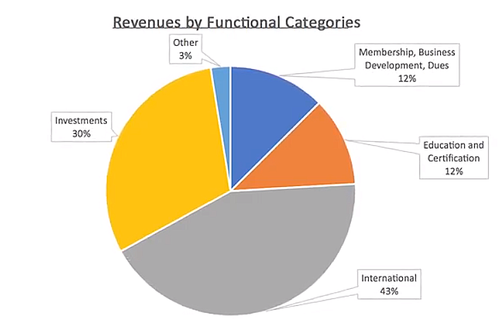Pie chart showing the breakdown of revenue by category