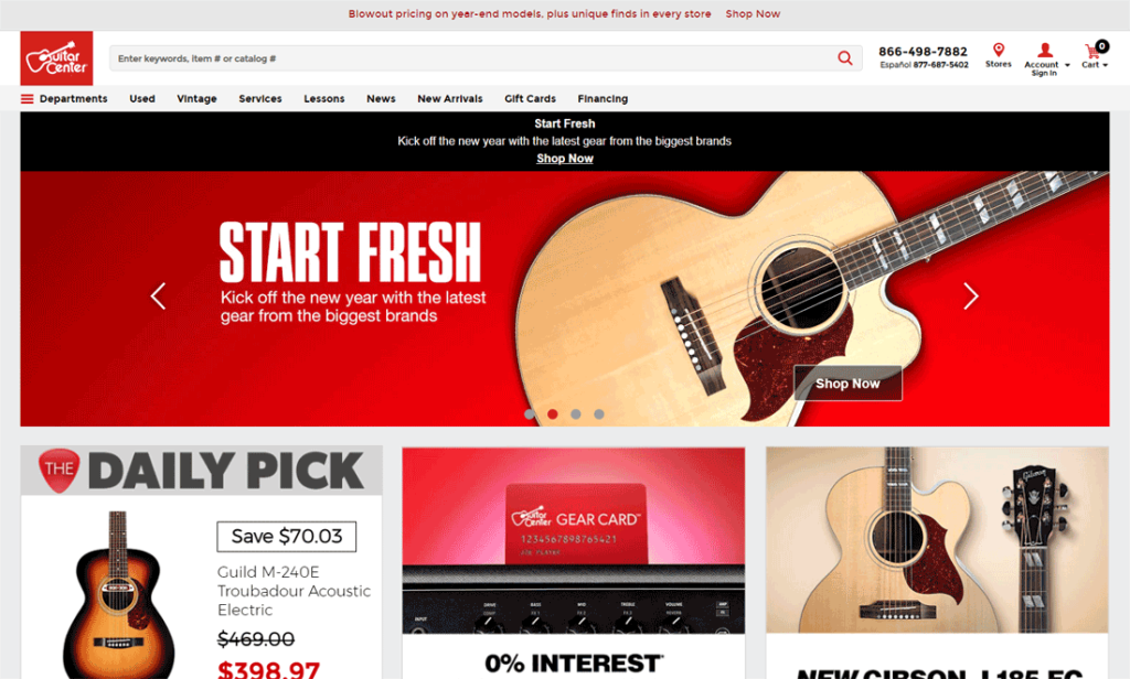 A screen shot of the Guitar Center website