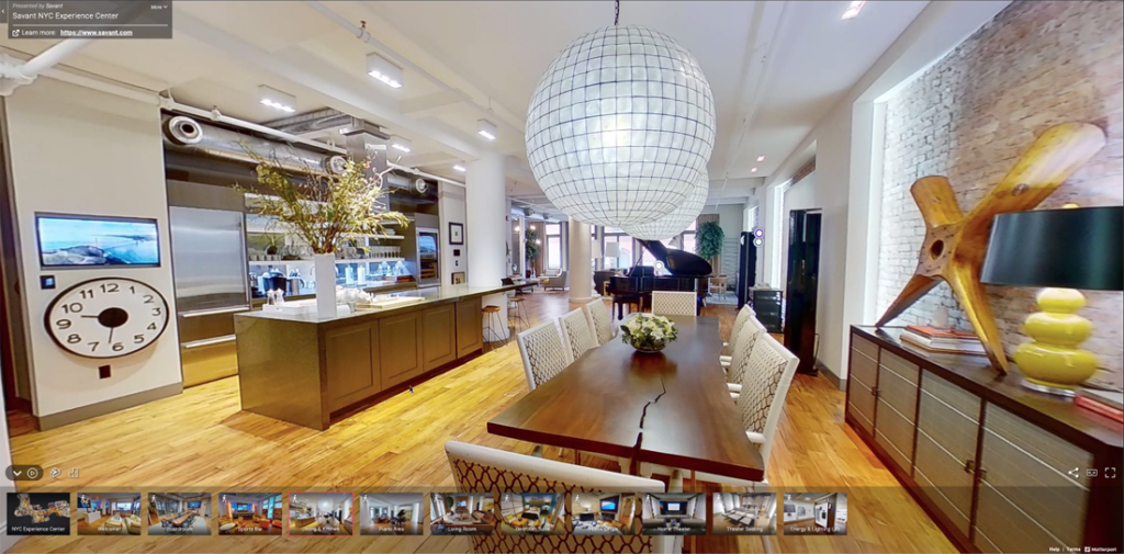 The kitchen/dining space in the Savant Experience Center in Manhattan