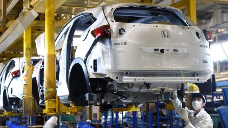Honda car factory in Wuhan, China. Honda has closed plants due to the chip shortage