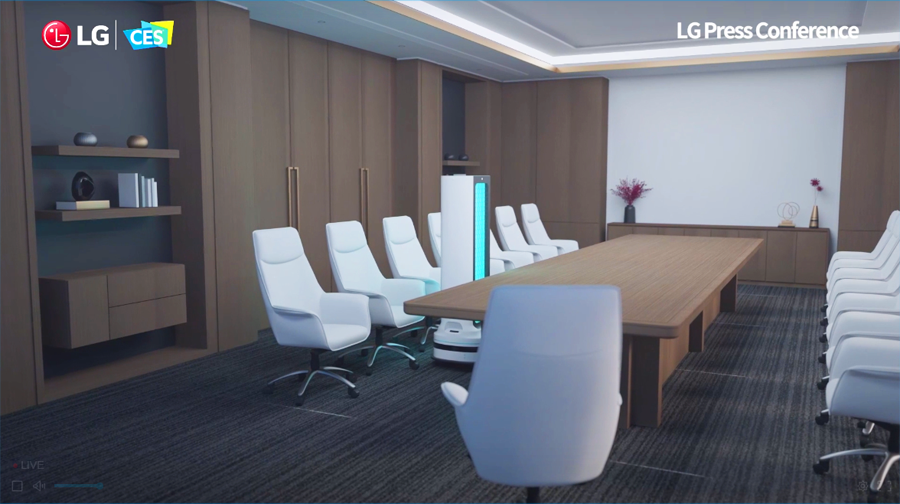 CES - An artist's rendering of an LG sanitation robot sanitizing a conference room