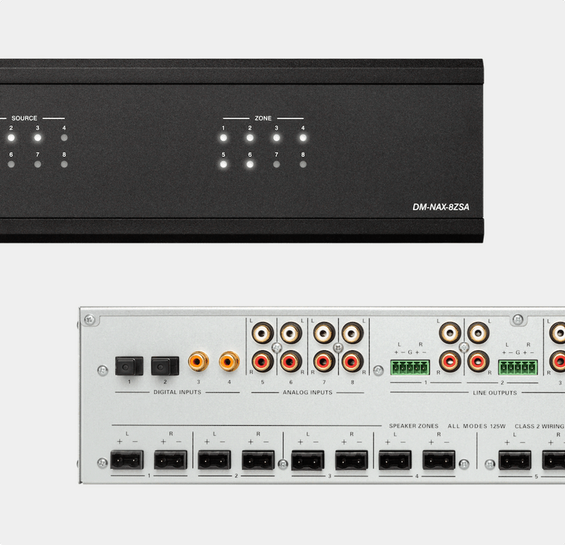 Front and back panel views of the new DM NAX audio-over-IP solution