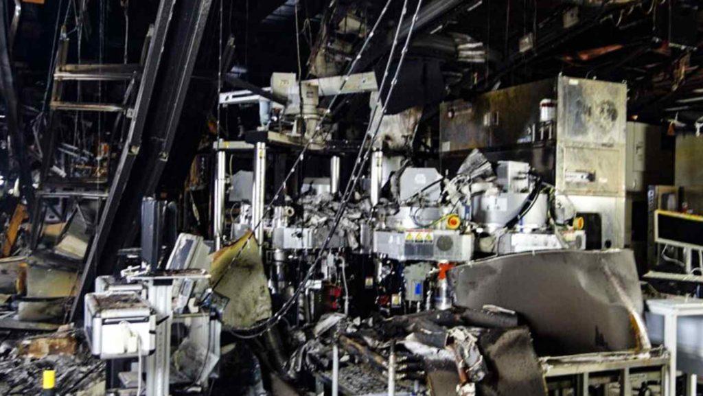 Photo of fire damage at Renesas Naka factory in Japan