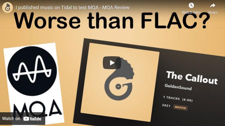 A screenshot of GoldenSound's original video on MQA