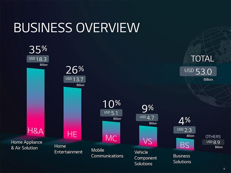 LG sales category breakdown from 2020