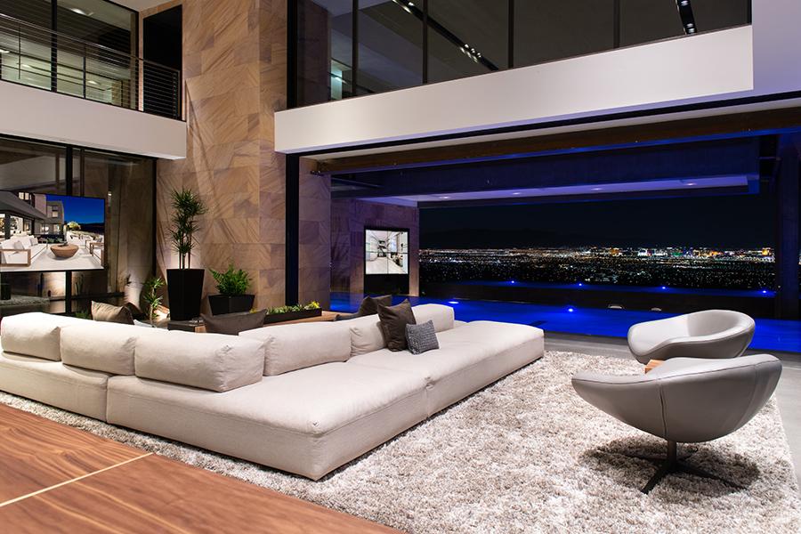 Savant Vegas Modern living room looking at Las Vegas